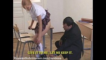 Hot student golden-haired punished in slavery by her sadistic professor