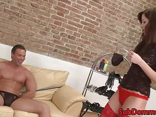 Fem corporalist restrains muscle sub for anal toying