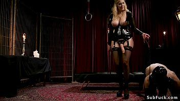 Breasty golden-haired dominatrix-bitch anal bonks homo