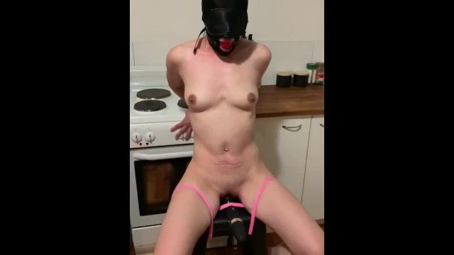 Tied serf gagged with fake penis castigation