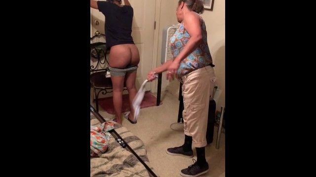 Angie spanks cutie for wearing sweat shorts to school