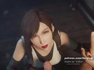 Tifa deepthroat schlong and take cum on her face by bulgings