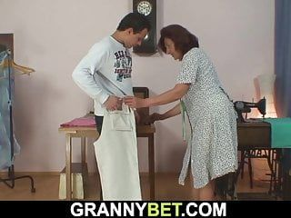 Sewing granny swallows customers knob